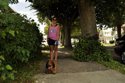 Next up was Bruno who enjoyed a nice, shady walk with his walker Lauren.